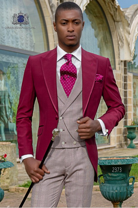 Italian short-tailed wool mix burgundy with Prince of Wales trousers burgundy color