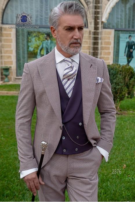 Bespoke Houndstooth morning suit burgundy color