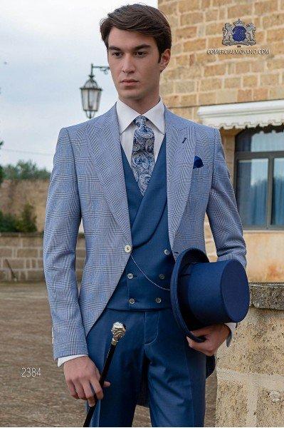 Chaqué de novio Príncipe de Gales azul