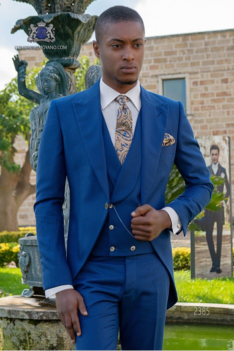 Bespoke Houndstooth blue royal morning suit
