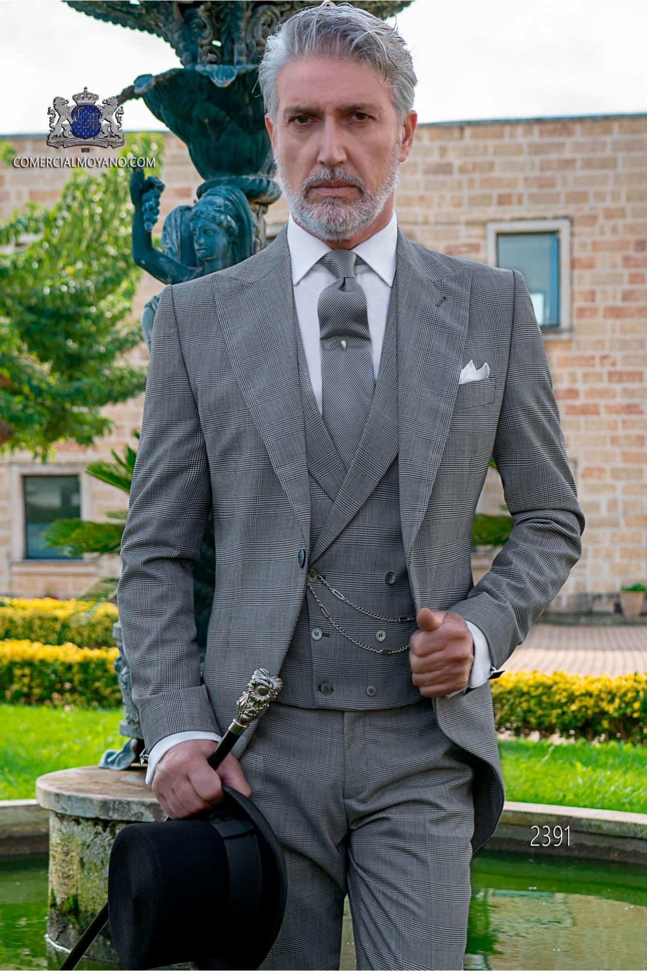 Bespoke Prince of Wales grey morning suit