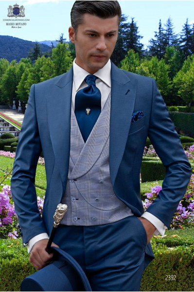 Bespoke royal blue morning suit cool wool mix