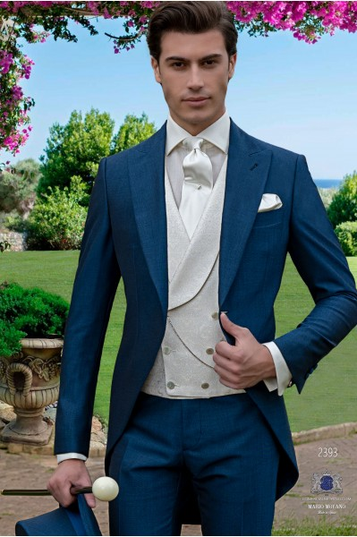 Italian royal blue wool mix mohair alpaca morning suit.