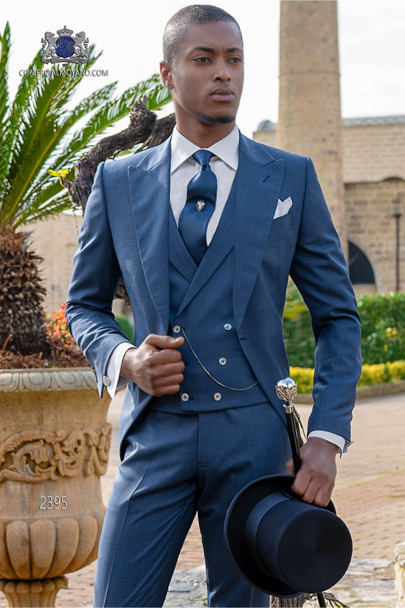 Italian royal blue wool mix Prince of Wales morning suit.