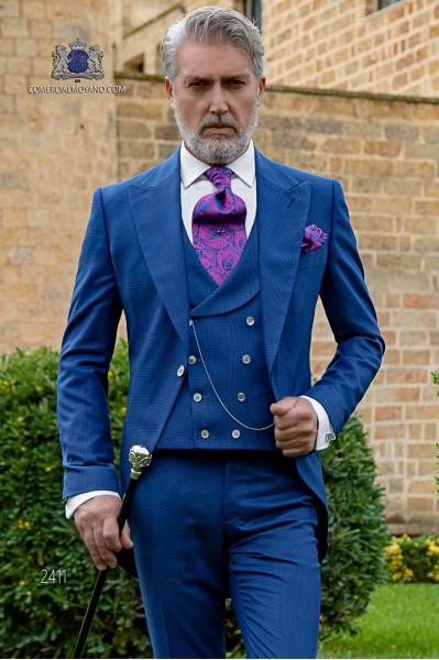 Schottenmuster royal blaue Cut Bräutigam Anzug