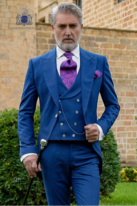 Bespoke Prince of Wales morning suit royal blue