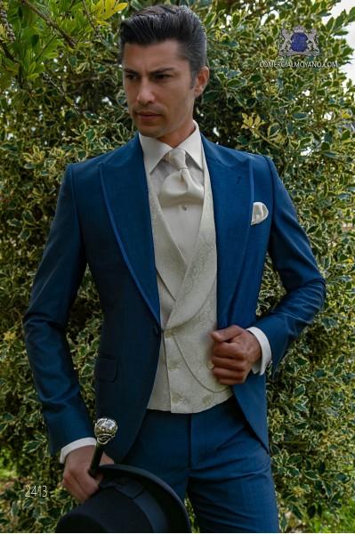 Italienisch Gehrock Hochzeitsanzug royalblau aus Mohair Wollmischung Alpaka