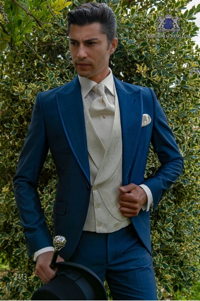 Italian royal blue mohair wool mix alpaca short frock coat wedding suit