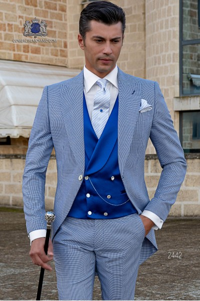 Chaqué de novio pata de gallo azul royal