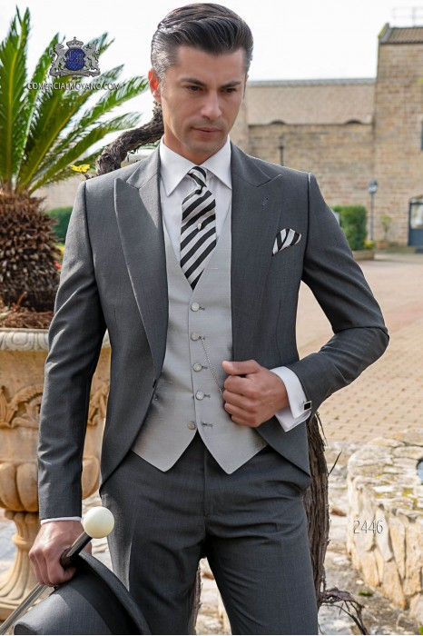Italian morning suit mohair wool mix alpaca anthracite grey tailored suit.