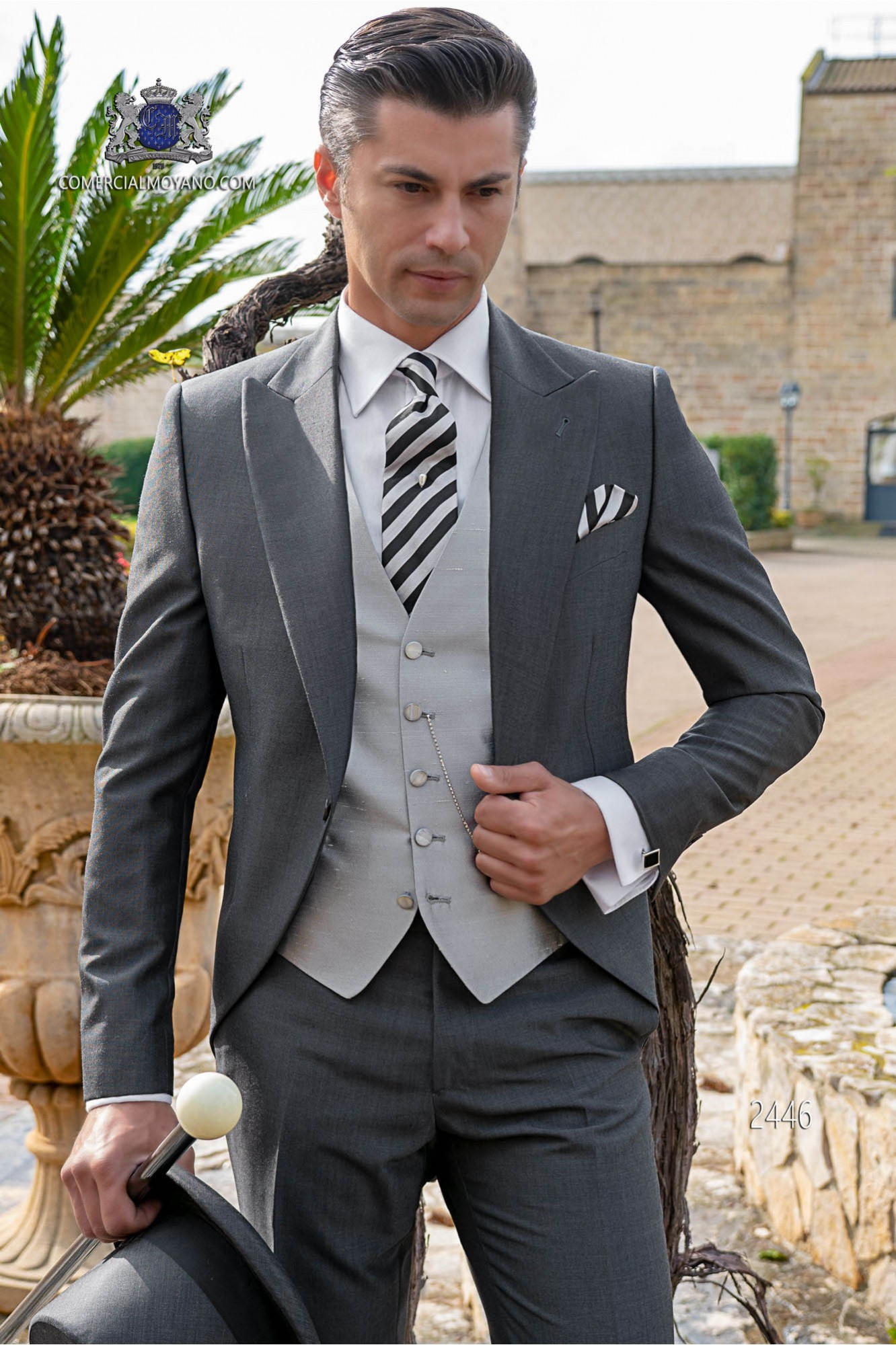 Italian morning suit mohair wool mix alpaca anthracite grey tailored suit