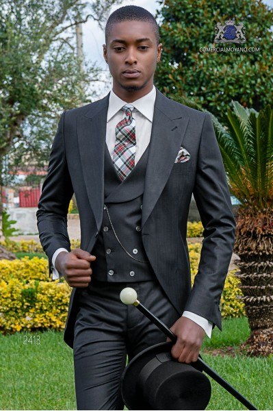 Black Italian morning suit with red pinstripe
