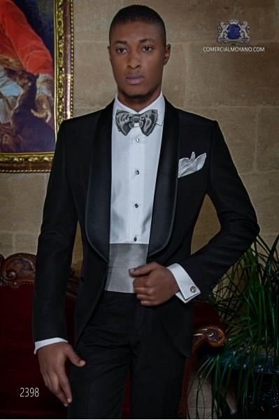 Italienisch schwarz Smoking Anzug aus Wollmischung