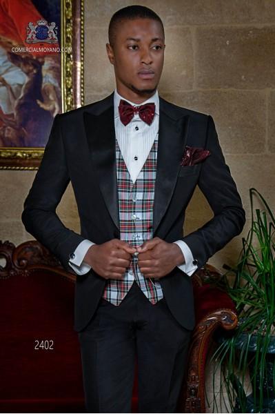 Schwarze smoking Bräutigam Anzug mit Satin Kontrast