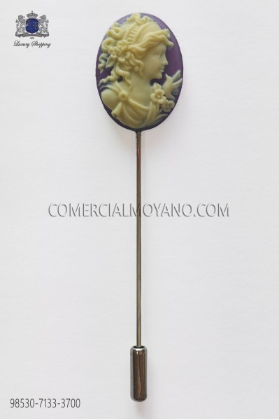 Purple cameo pin