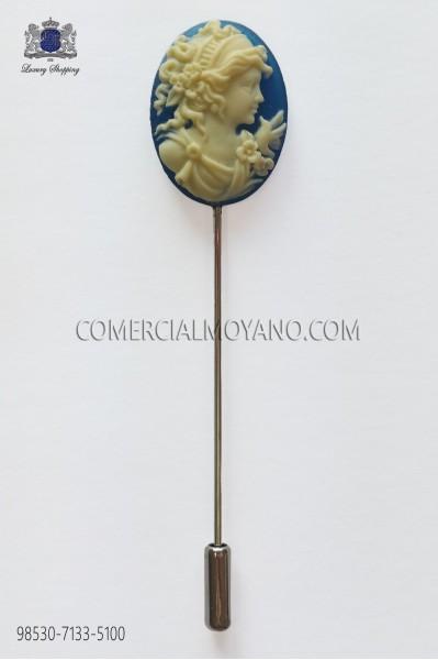Blue cameo pin