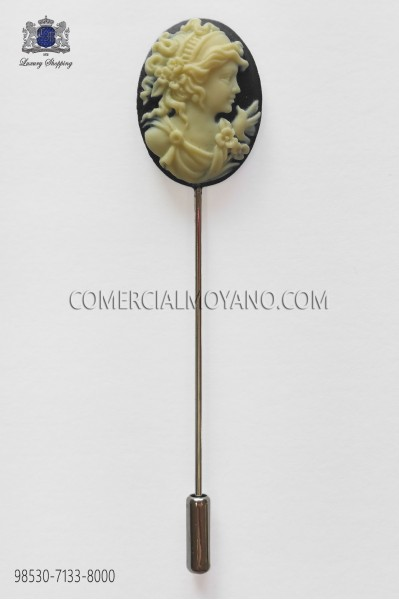 Black cameo pin