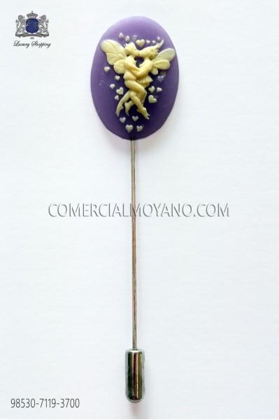 Coral purple cameo pin