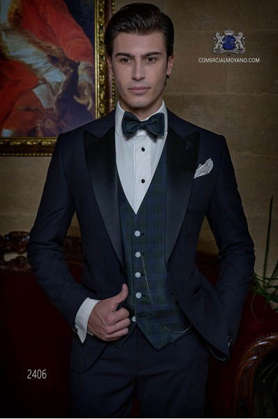 Italian bespoke pure wool over check navy blue tuxedo