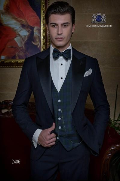 Italian bespoke pure wool over check navy blue tuxedo