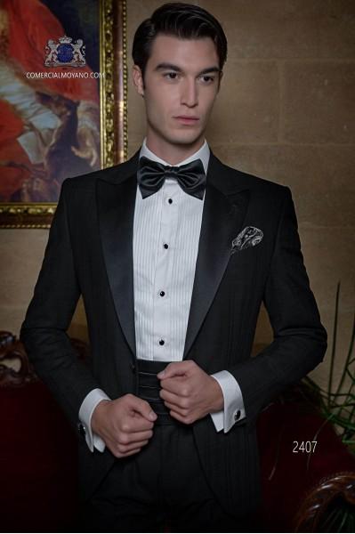 Esmoquin italiano negro de pura lana cuadro madrás