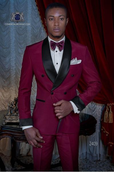 Italienisch burgund zweireihig Smoking Anzug aus Wollmischung
