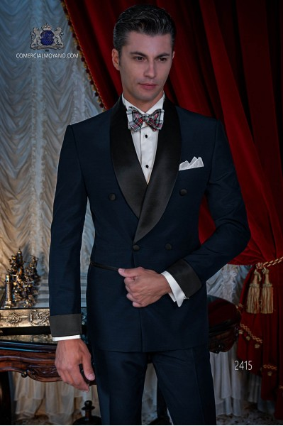 Italian double breasted navy blue tuxedo with satin lapels. Wool mix fabric.