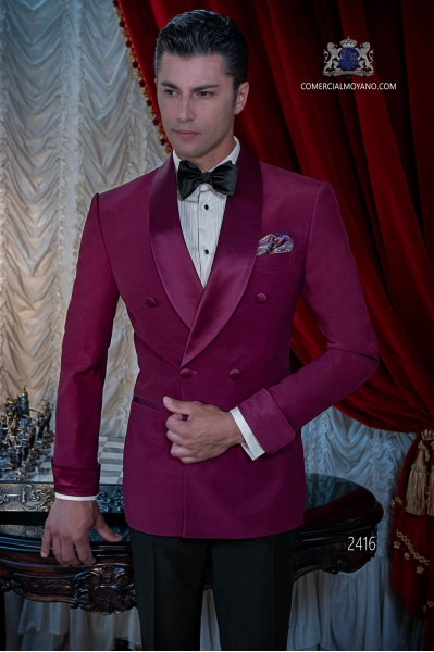 Italian bespoke burgundy double breasted tuxedo with black trousers