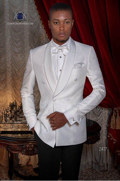 Italian bespoke white double breasted tuxedo