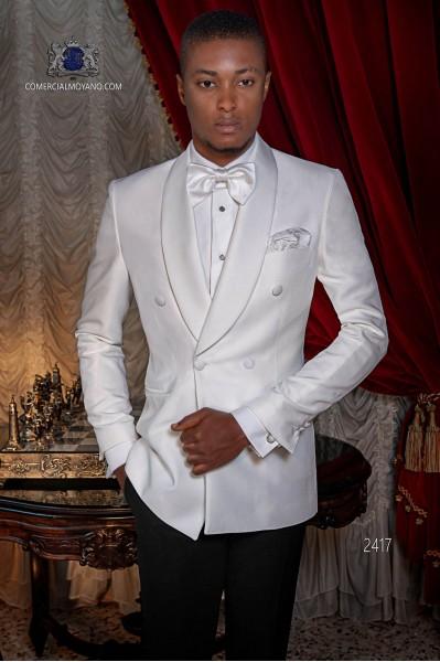 Tuxedo blanc italienne croisé de laine mélangée avec un pantalon noir