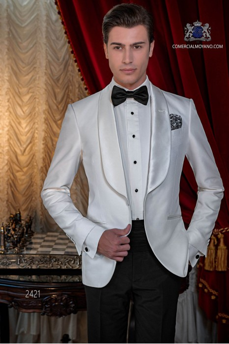 Bespoke white shantung dinner jacket with shawl collar