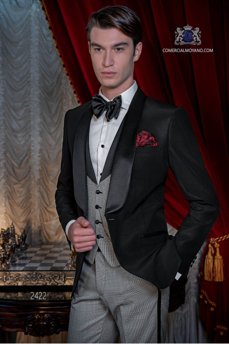 Italian black tuxedo with satin lapels. Shawl collar and 1 button. Pure wool fabric.