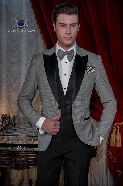 Bräutigam Anzug in Hahnentrittgewebe mit Hose schwarz