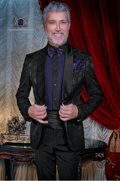 Italian bespoke wool silk black jacquard tuxedo combined with black trousers