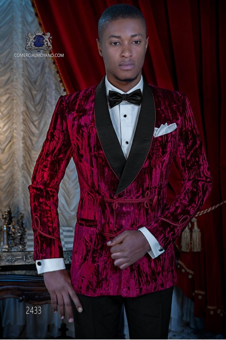 Italian bespoke velvet red double breasted tuxedo with black trousers