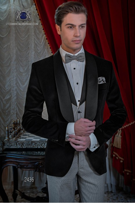 Italian black tuxedo with satin lapels. Shawl collar and 1 button. Black velvet fabric.