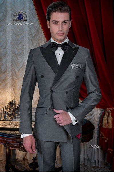 Traje de novio italiano smoking gris antracita