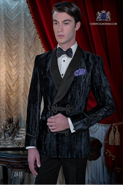 Italian bespoke velvet black double breasted tuxedo with black trousers
