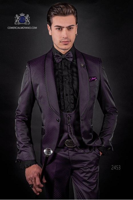 Traje de moda esmoquin italiano micro diseño negro-púrpura con solapa chal.