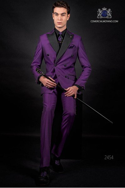 Bespoke Italian double breasted fashion purple suit