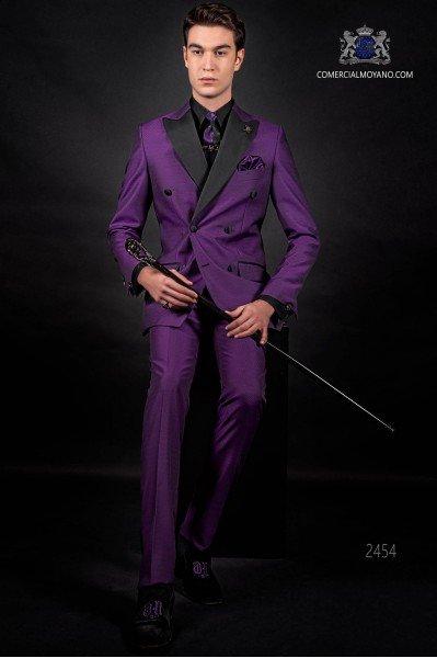 Mode violett zweireihig Herren Anzug mit Satin Revers