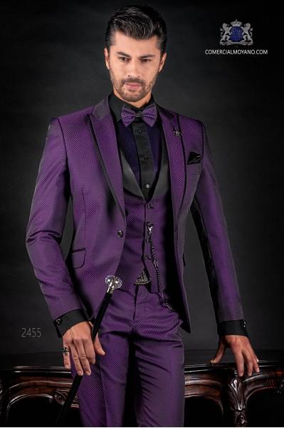 Italian fashion bespoke suit purple micro design