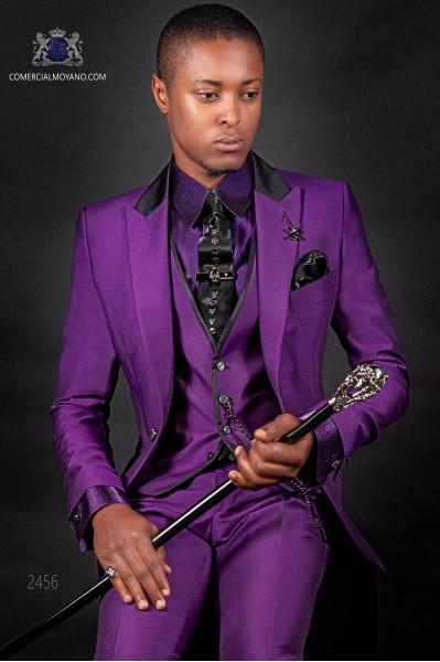 Mode Herren Anzug violett mit Weste und Satin Kontrast