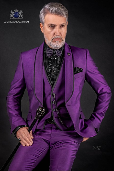 Italian violet groom suit with waistcoat. Shawl collar with satin contrast and 1 button