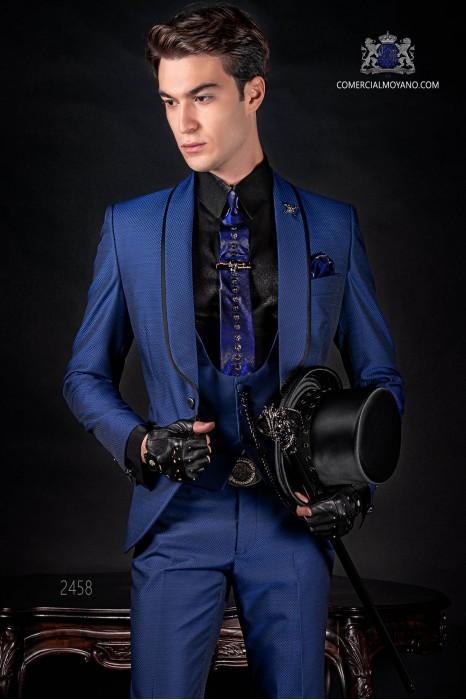 Italian fashion tuxedo electric blue polka dots microdesign