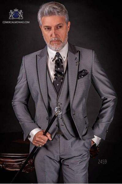 Italienische Anzug grau Mikromuster. Spitzen Revers und 1 Knopf, Wollmischung Stoffe.