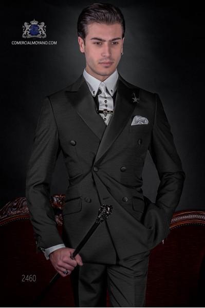 Costume croisé micro design noir pour homme de mode