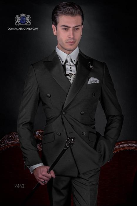Traje de moda italiano a medida cruzado negro tejido microdiseño