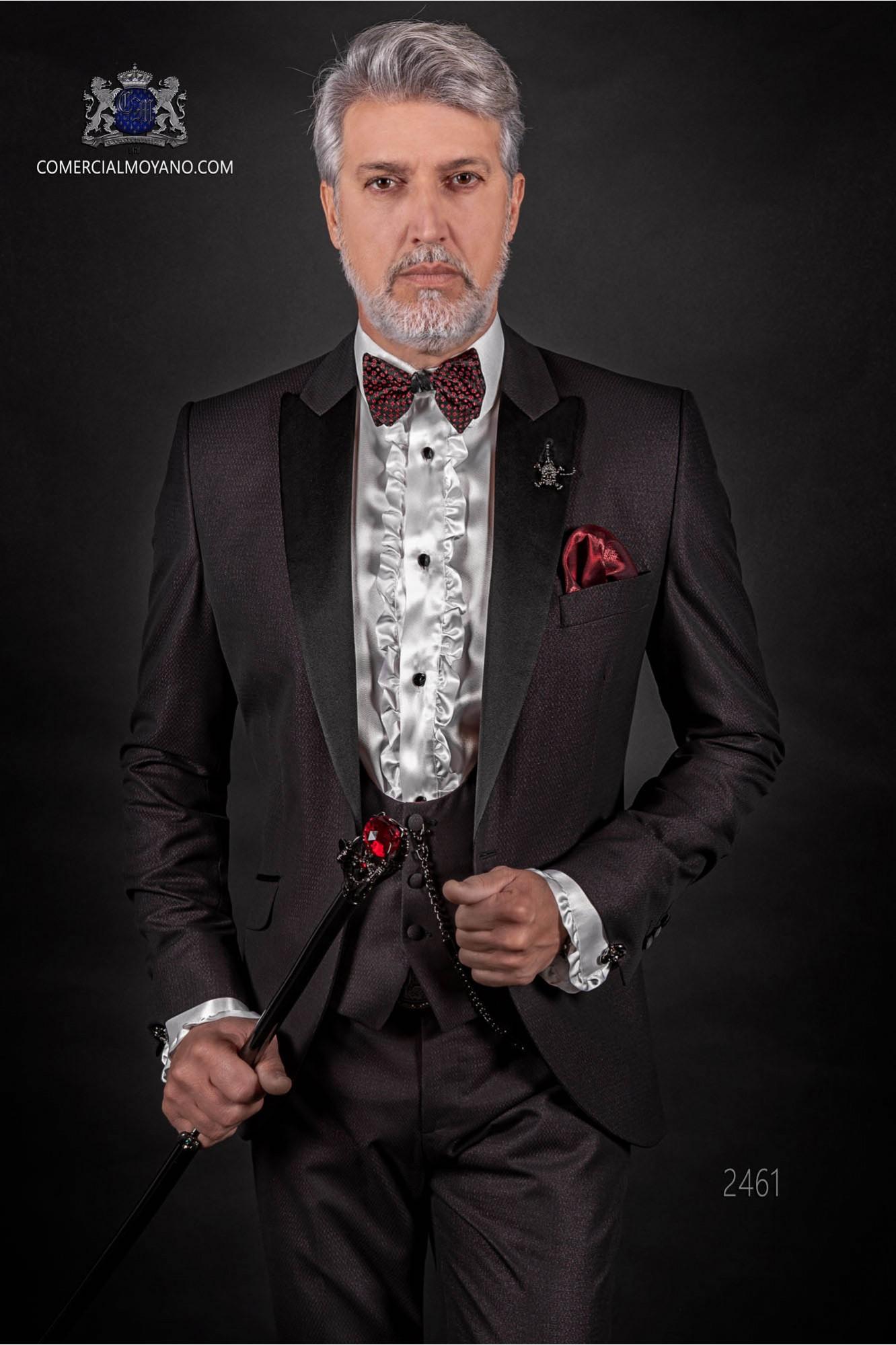 "Traje de novio italiano de moda con moderno corte ""Slim"". Modelo solapa punta con un botón, estilo esmoquin"