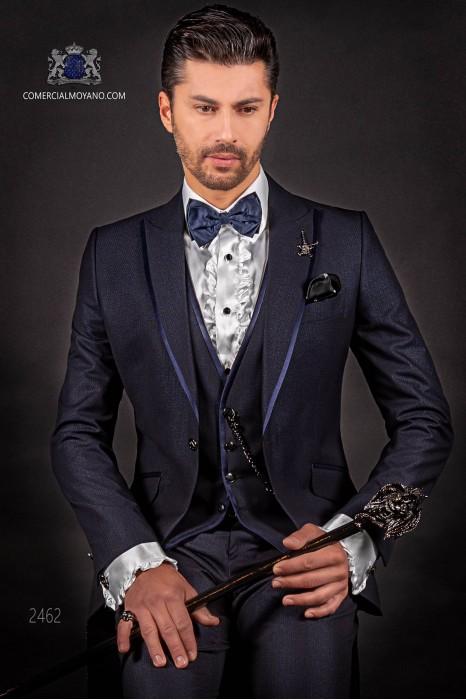 Italian dark blue shiny fashion suit. Peak lapels with satin trims and 1 button.